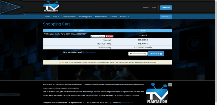 Click Checkout when on the Shopping Cart page.