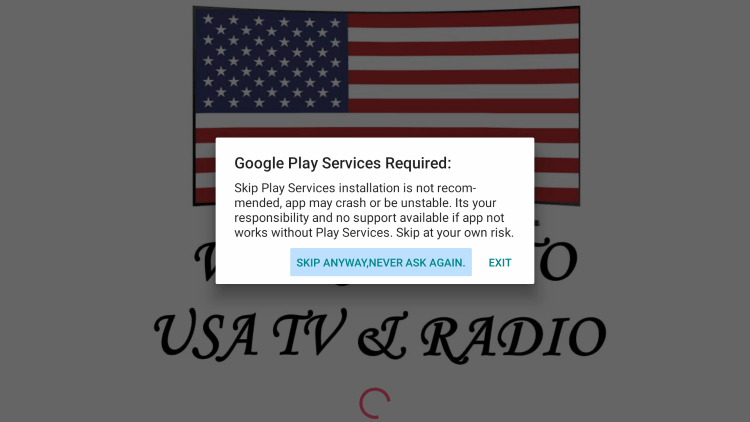Click Skip Anyway, Never Ask Again when this message comes up.