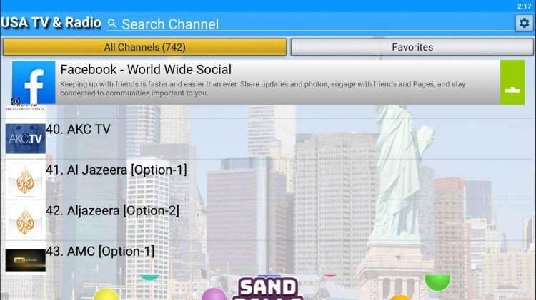 This app contains hundreds of channels and VOD options in numerous categories.