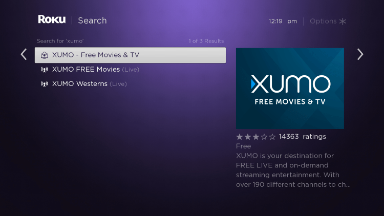 Scroll over and select the XUMO channel.
