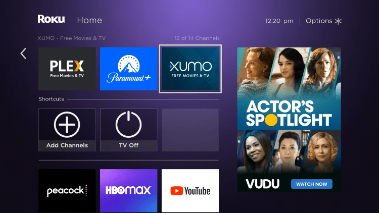 Return to the home screen and locate the XUMO channel to launch it.