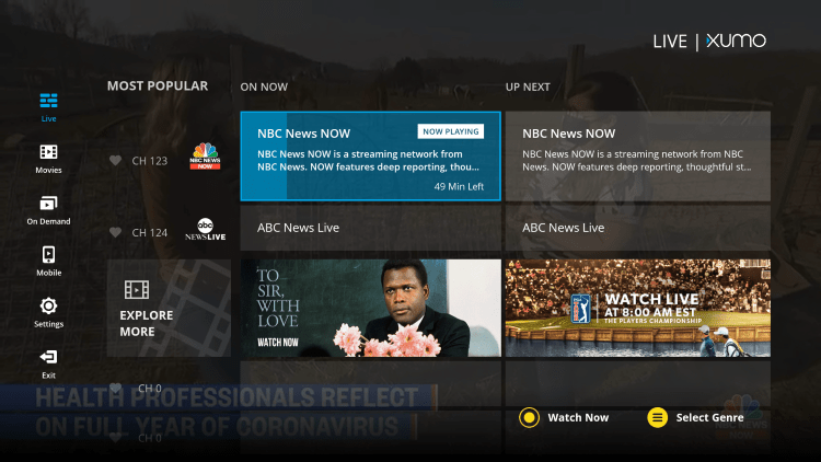 XUMO APK offers hundreds of live channels that are 100% free to watch on any device.