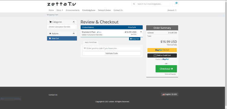 You are then redirected to the Review & Checkout page. Review your plan and click Checkout.