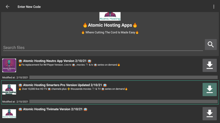 """Choose any APK you prefer. For this example, we used the """"Atomic Hosting Smarters Pro"""" option for Firestick/Android."""