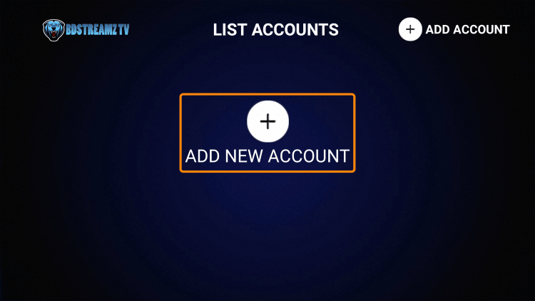 Click Add New Account.