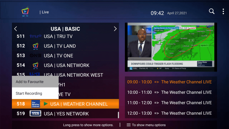 One of the best features within the BP TV IPTV service is the ability to add channels to Favorites.