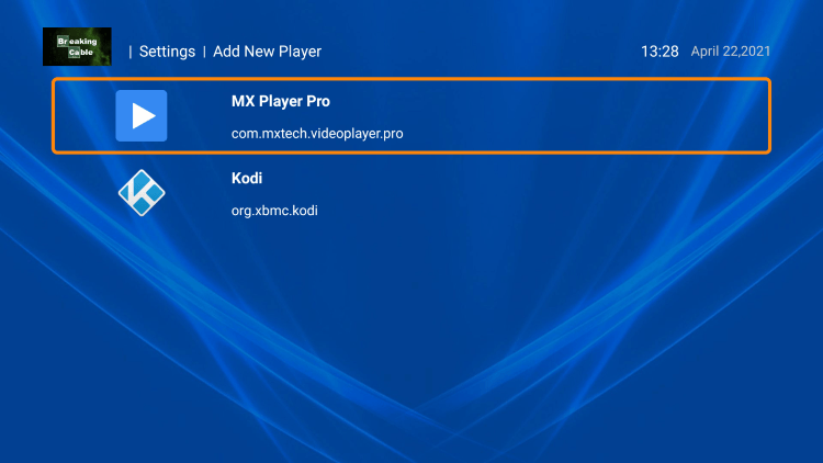 Select whichever player you prefer. We chose MX Player for this example.
