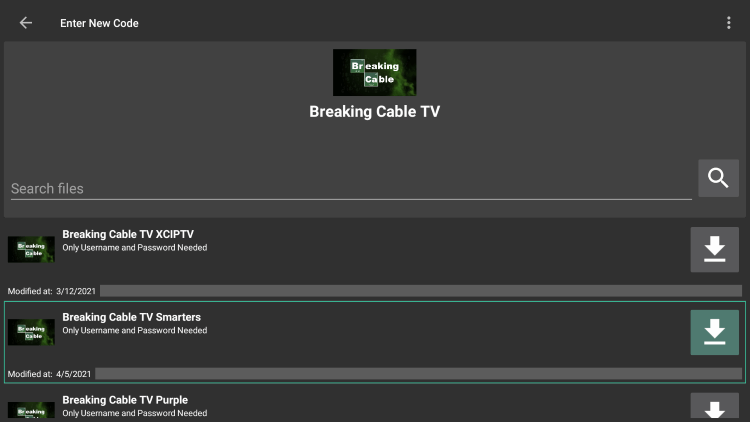 """Choose any APK you prefer. For this example, we used the """"Breaking Cable TV Smarters"""" option for Firestick/Android."""