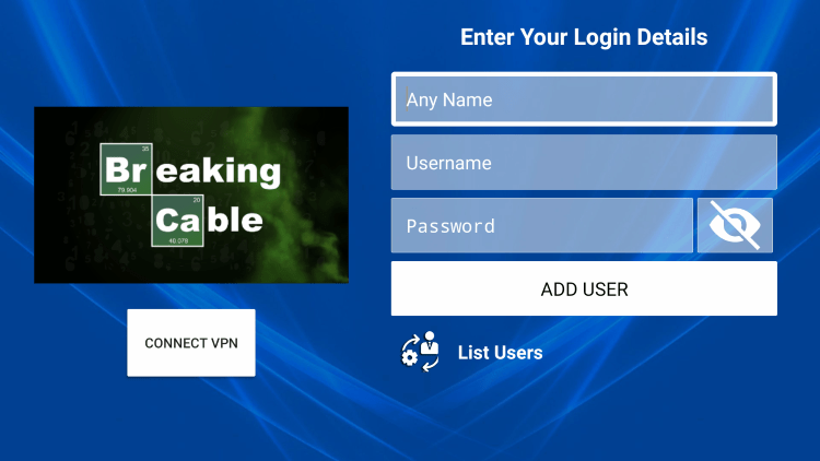 After you install the Breaking Cable application on your streaming device, you enter your account login information on this screen.