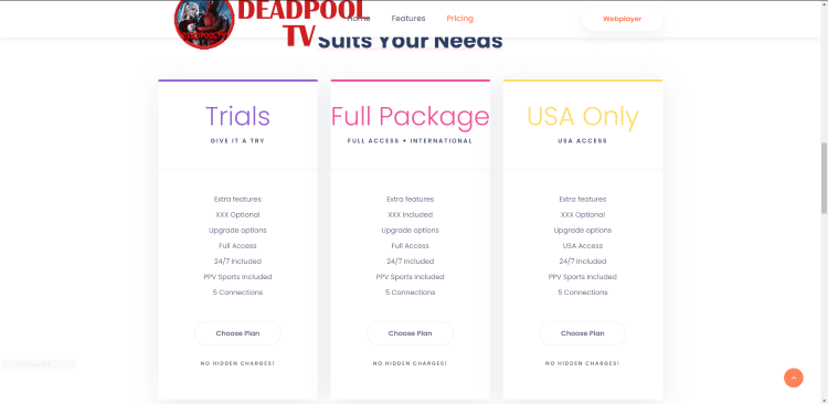Within the Full Package box click Choose Plan.
