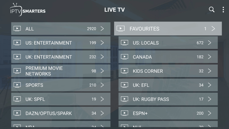 Return back to the channel category list and click Favourites within decoded streams