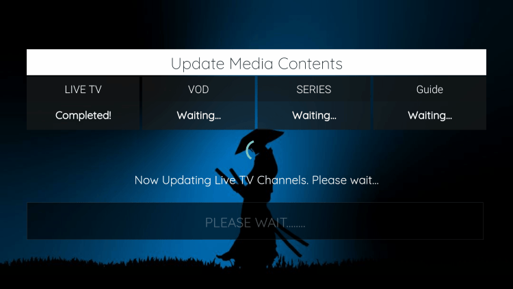 Wait a few seconds for the channels and VOD content to load.