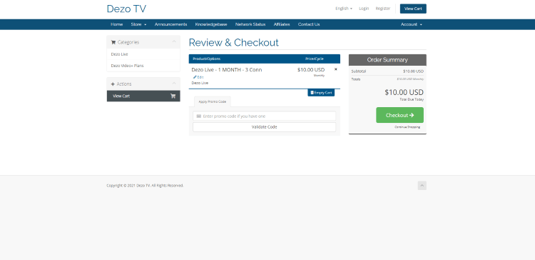 Review your plan and click Checkout.