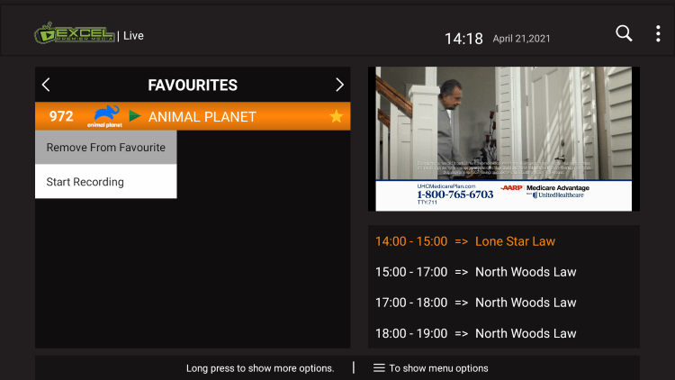 If you want to remove a channel from your Favorites, hover over a channel and hold down the OK button on your remote.