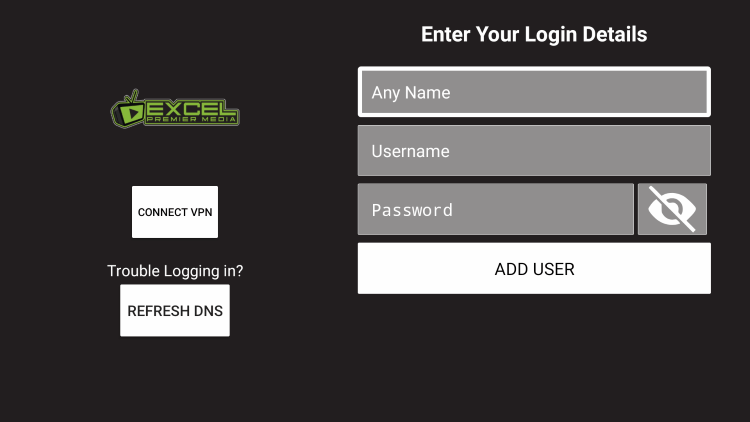 After you install the Excel Premier Media application on your streaming device, you enter your account login information on this screen.