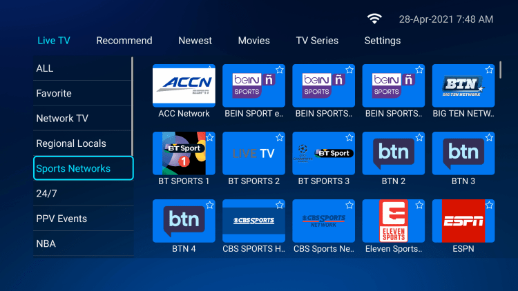 Every subscription plan comes with over 12,000 live channels in various categories.