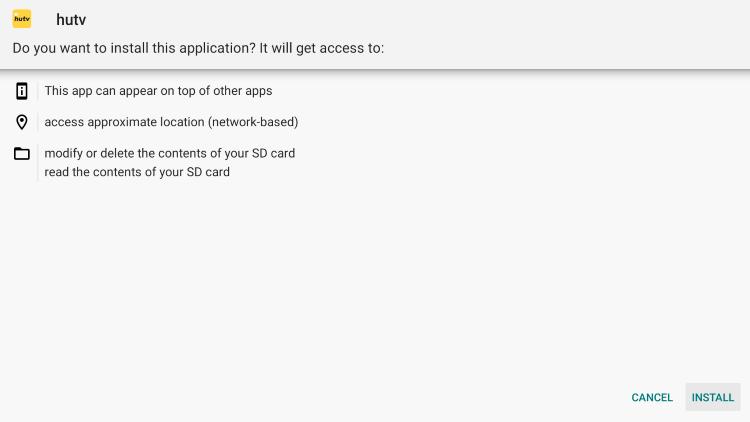 Click Install hutv iptv