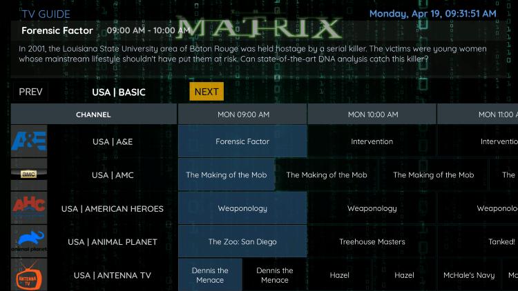 matrix iptv epg
