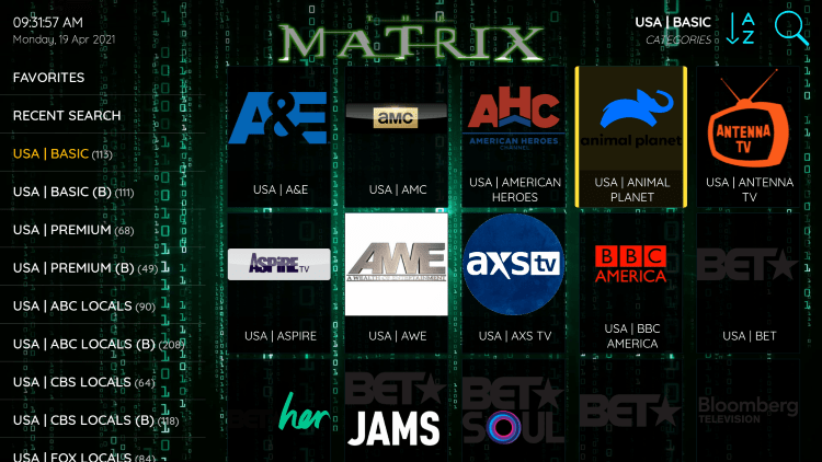 One of the best features within the Matrix IPTV service is the ability to add channels to Favorites.