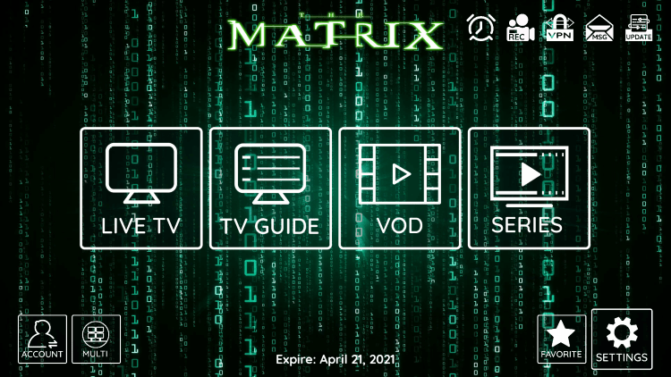 In the example below, we show how to integrate an external player within Matrix IPTV.