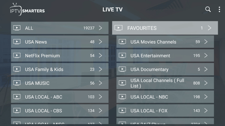 Return back to the channel category list and click Favourites. Notice your selected channel is there.