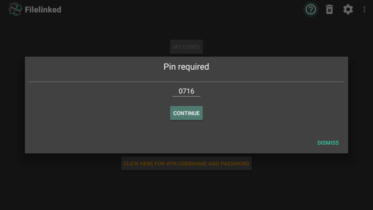 Next enter the required Pin number which is 0716 for spin tv