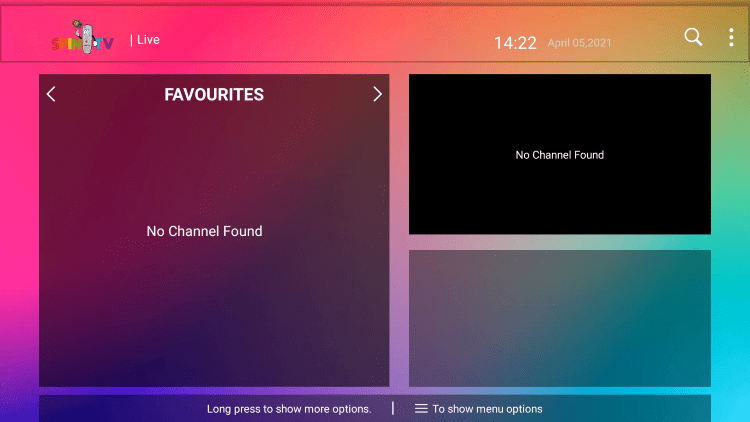 That's it! You can now add/remove channels from Favorites within this spin tv service