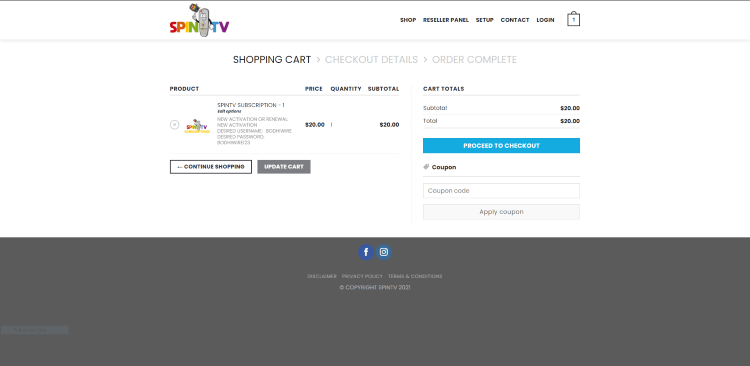 Review your subscription and click Proceed to Checkout.