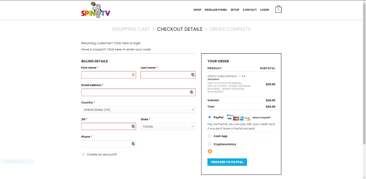 That's it! You have successfully registered for an account with Spin TV.