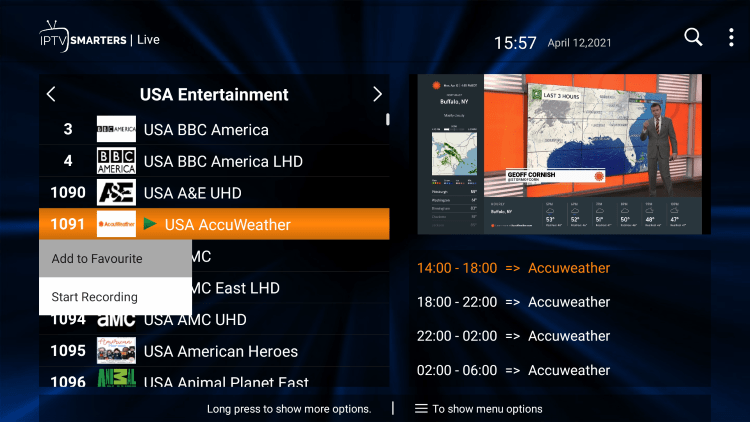 One of the best features within the Tenet Streams IPTV service is the ability to add channels to Favorites.