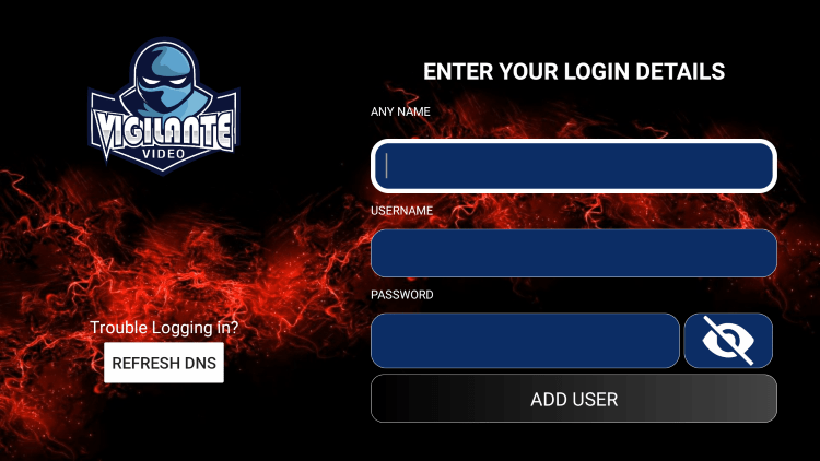 After you install the Vigilante Solutions IPTV application on your streaming device, you enter your account login information on this screen.