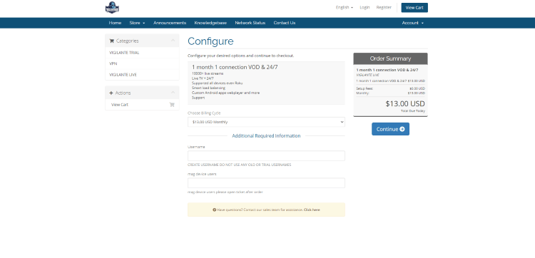 You will then be redirected to the Configure page. Create a username and click Continue.