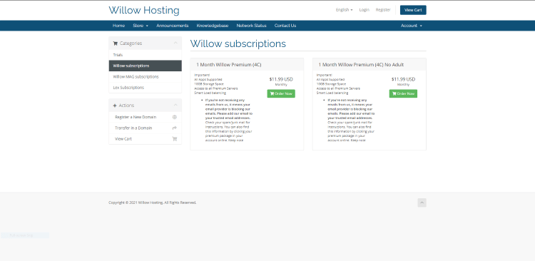 willow hosting pricing