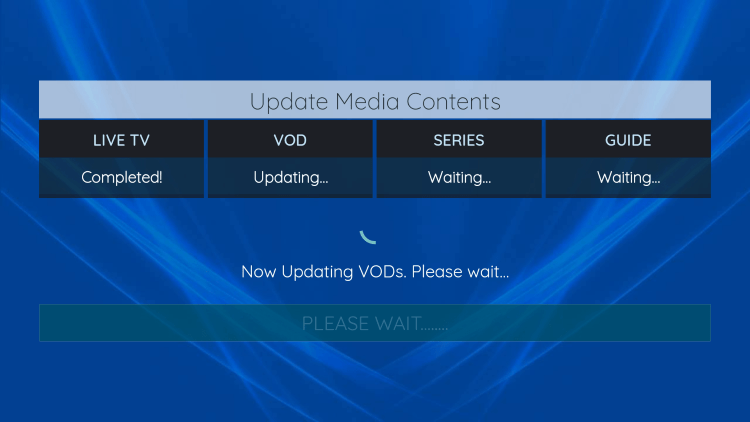 Wait a few seconds for this IPTV player to download your service's channels, movies, EPG, and more.