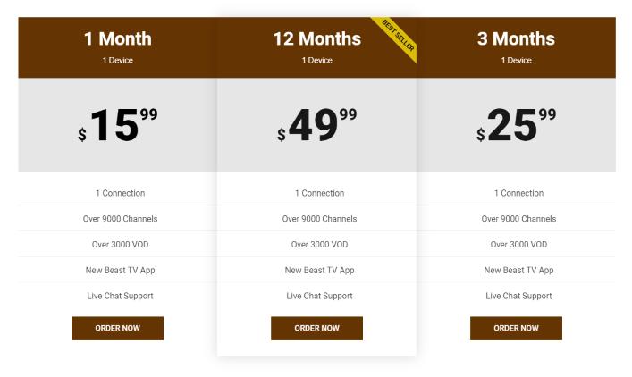 beast iptv pricing