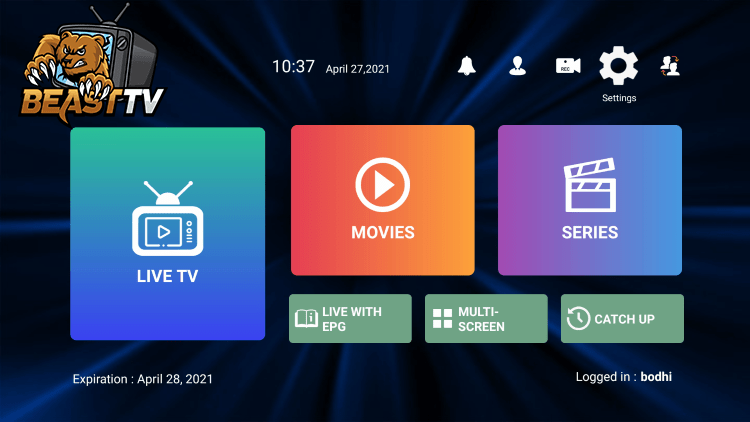 In the example below, we show how to integrate an external player within Beast IPTV.