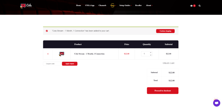 Review your plan within your cart and click Proceed to Checkout.