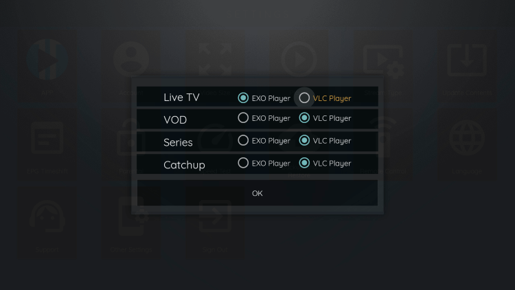 Since VLC is the only external player we are able to integrate within Dexter IPTV, choose that one.