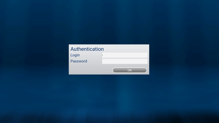 After you install the Epic IPTV application on your streaming device, you enter your account login information on this screen.