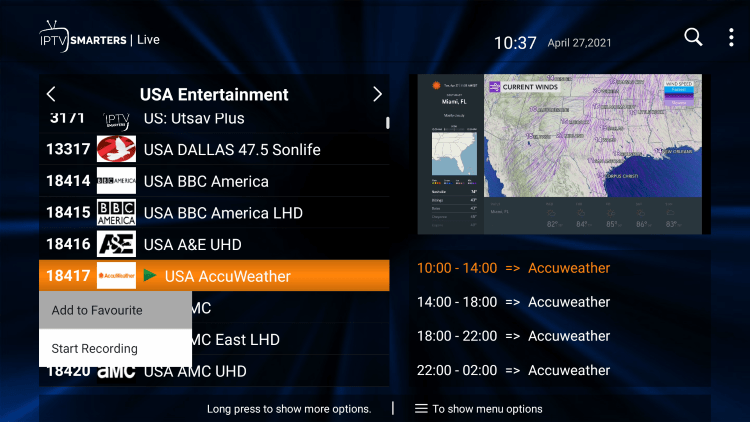 One of the best features within the Eternal TV IPTV service is the ability to add channels to Favorites.