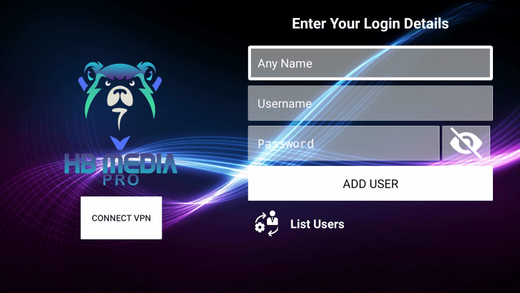 After you install the HB Media IPTV application on your streaming device, you enter your account login information on this screen.