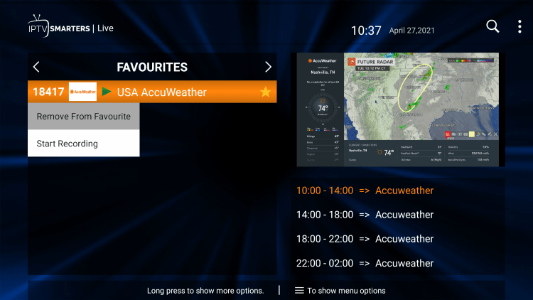 That's it! You can now add/remove channels from Favorites within ks hosting iptv