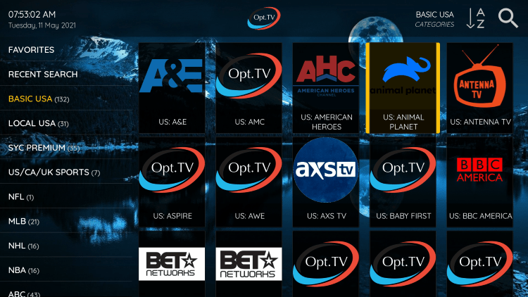 One of the best features within the OPT Hosting IPTV service is the ability to add channels to Favorites.