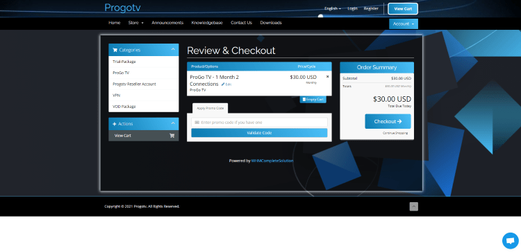 Review your plan on the Review & Checkout page. Then click Checkout.