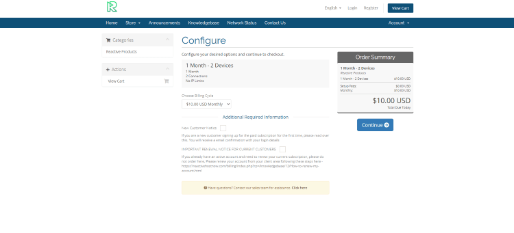 On the Configure page check the boxes and click Continue.