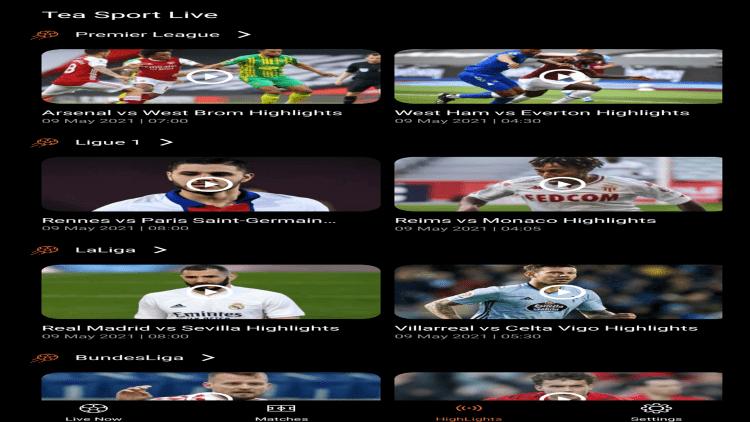 tea sports live apk channels