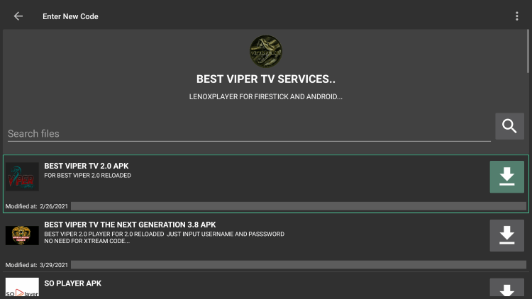 """Choose any APK you prefer. For this example, we used the """"Best Viper TV APK"""" option for Firestick/Android."""