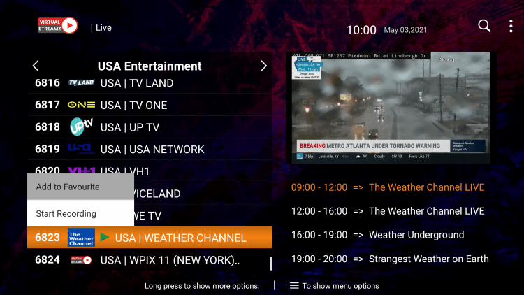 One of the best features within the Virtual Streamz IPTV service is the ability to add channels to Favorites.