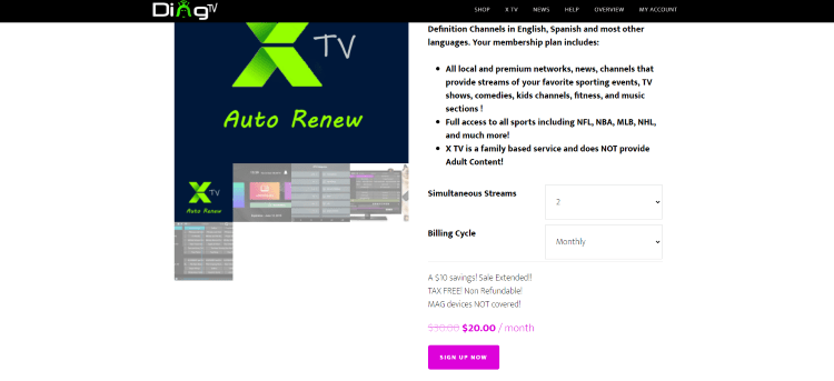 Review your selected plan and scroll down and click Sign Up Now.