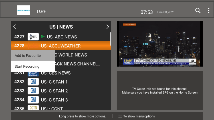 One of the best features within the Best USA IPTV service is the ability to add channels to Favorites.